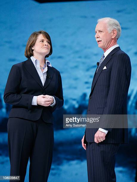 President and general manager of TLC Eileen O'Neill and pilot Capt Chesley Sully Sullenberger attend Discovery Upfront at Jazz at Lincoln Center...