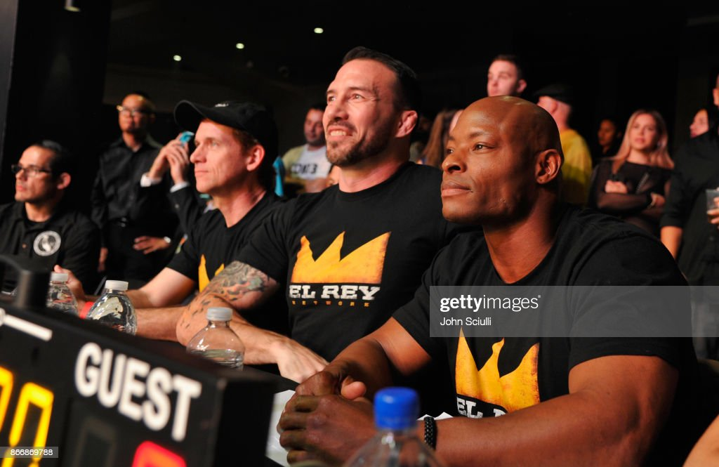 President and GM of El Rey Network Daniel Tibbets, hosts Nate Quarry and Tony Parrish attend Bushido Battleground Fight Night at Exchange LA on October 26, 2017 in Los Angeles, California.