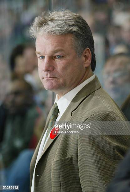 President and Head Coach Dale Hunter of the London Knights looks on from the bench during the Ontario Hockey League game against the Guelph Storm at...