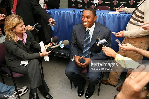 President and Head Coach Isiah Thomas of the New York Knicks speaks to the media prior to the game between the Maccabi Elite Tel Aviv and New York...