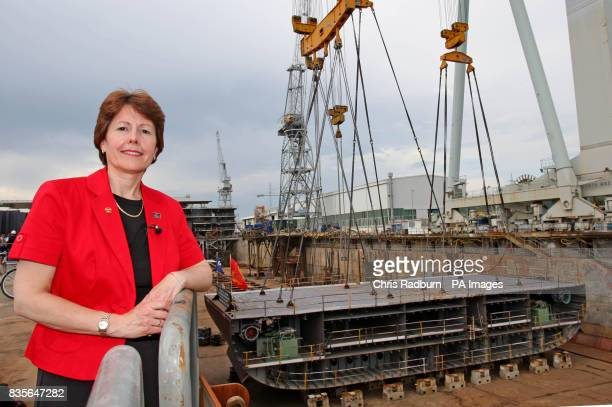 President and Managing Director of Cunard Line Carol Marlow at the keel laying ceremony for the company's newest cruise ship Queen Elizabeth in the...