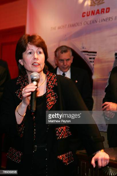 President and managing director of Cunard line Carol Marlow speaks at the Cunard Royal Rendezvous and Maiden Call of Queen Victoria at the Ritz...