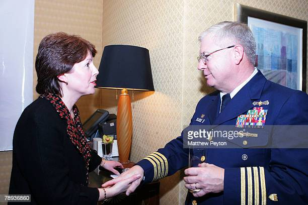 President and managing director of Cunard line Carol Marlow speaks with the Captain of the Port of New York Bob O'Brien at the Cunard Royal...