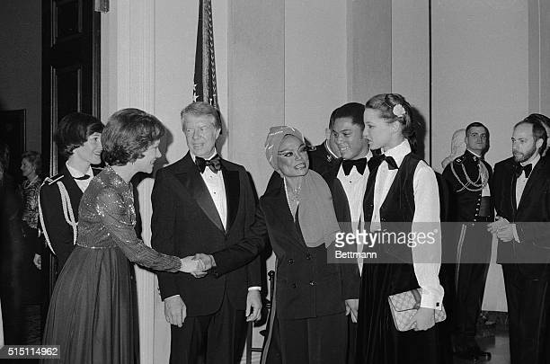 President and Mrs Carter meet Eartha Kitt and her daughter Kit McDonald in this photo at a reception at the White House on January 29th The Carters...