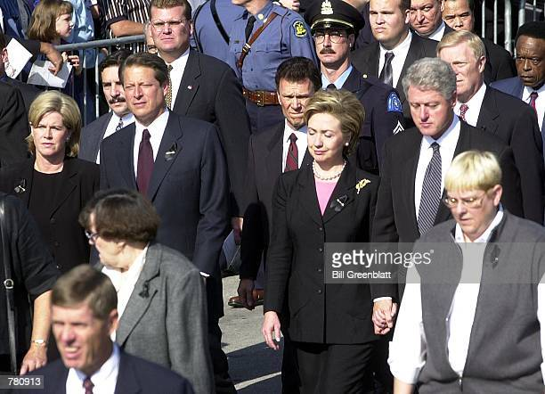 President and Mrs Clinton and Vice President and Mrs Gore are among the mourners in the processional at the memorial service for the late Missouri...