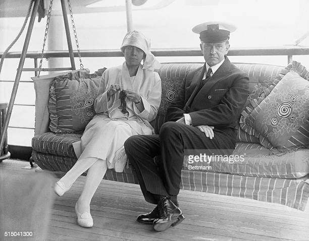 President and Mrs. Coolidge aboard the Mayflower.