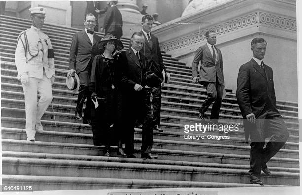 President and Mrs. Coolidge decend the steps of the U.S. Capitol Building after President Harding's state funeral. | Location: Capitol Building,...