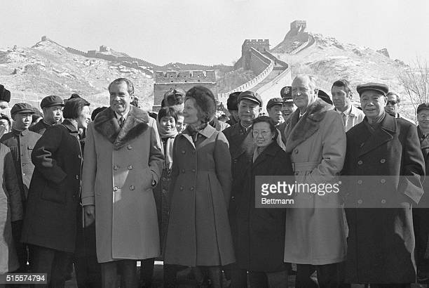 President and Mrs. Nixon and Secretary of State William Rogers visit the Great Wall of China Feb. 24. Standing between Mrs. Nixon and Rogers are...