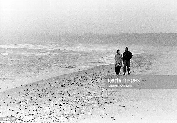 President and Mrs. Nixon look at the ocean January 13, 1971 at a beach in San Clemente, CA.