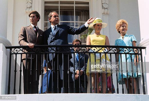 President and Mrs Nixon welcome Prince Charles and Princess Anne on the balcony of the South Portico of the White House here Left to right are Prince...