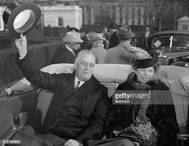 President and Mrs Roosevelt riding in car on the President's third inauguration day