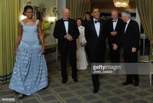 US President and Nobel Peace Prize laureate Barack Obama and First Lady Michelle Obama along with Norway's King Harald V and Queen Sonja and other...