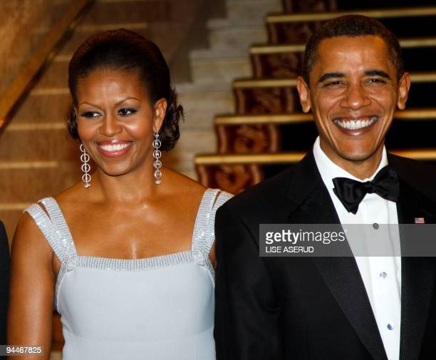 US President and Nobel Peace Prize laureate Barack Obama and First Lady Michelle Obama arrive for the Nobel Banquet in Oslo on December 10 2009 Obama...