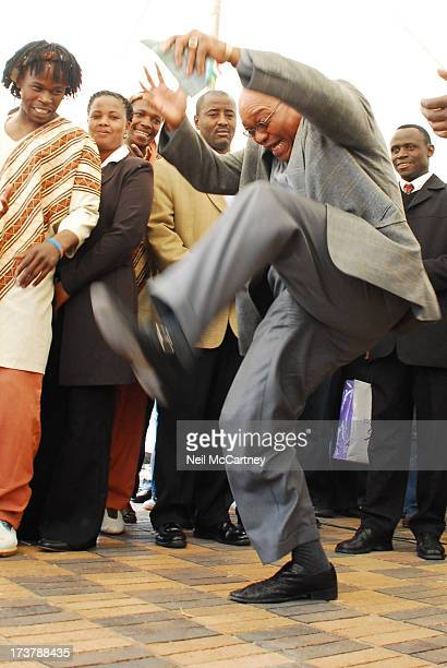 President and probable next South African President, Jacob Zuma performs a Zulu dance during a event in which, he assisted Gift of the Givers in...