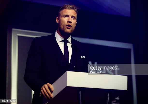 President Andrew Flintoff announces the winner of the Lifetime Achievement Award during the NatWest PCA Awards at The Roundhouse on October 4 2017 in...