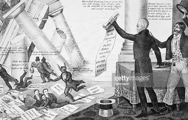 President Andrew Jackson brandishes an 'Order for the Removal of the Public Money deposited in the United States Bank' sending small figures running...