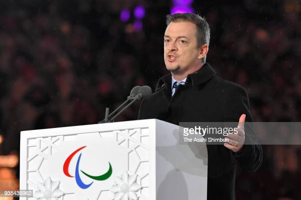 President Andrew Parsons addresses during the closing ceremony of the PyeongChang 2018 Paralympic Games at the PyeongChang Olympic Stadium on March...