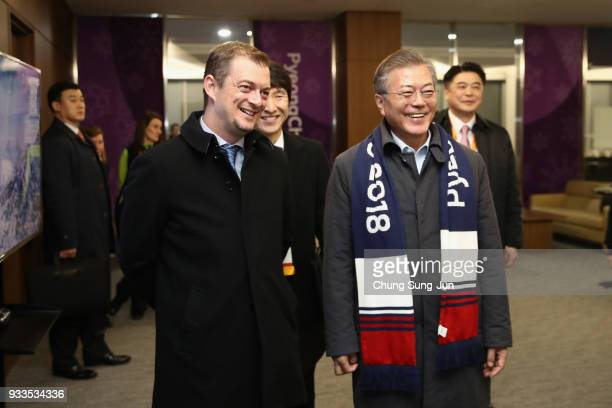 President Andrew Parsons and South Korean President Moon Jaein talk ahead of the closing ceremony of the PyeongChang 2018 Paralympic Games at the...