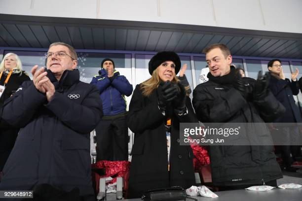 President Andrew Parsons , his wife Marcela Parsons and IOC President Thomas Bach , attend the opening ceremony of the PyeongChang 2018 Paralympic...