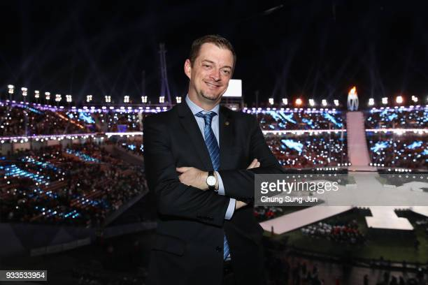 President Andrew Parsons poses for photographs ahead of the closing ceremony of the PyeongChang 2018 Paralympic Games at the PyeongChang Olympic...