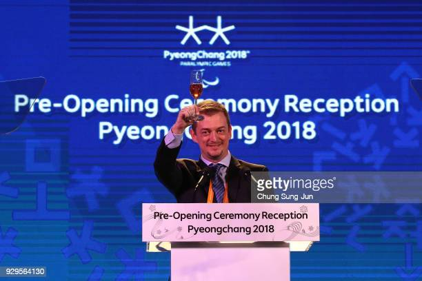 President Andrew Parsons toasts during the Opening Ceremony Reception of the PyeongChang 2018 Paralympic Games at the PyeongChang Olympic Stadium on...