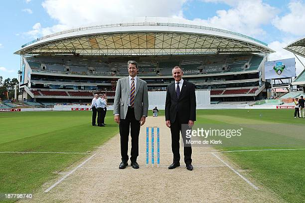 President Andrew Sinclair and South Australian Premier Jay Weatherill stands on the pitch before day one of the Sheffield Shield match between the...