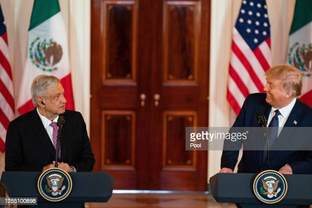 President Andrés Manuel López Obrador of Mexico and US President Donald Trump speak before a working dinner at the White House July 8 2020 in...