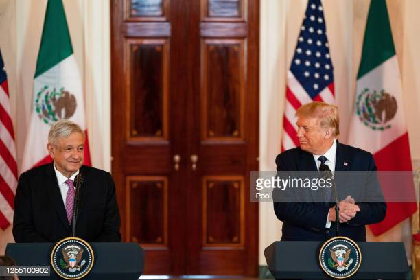President Andrés Manuel López Obrador of Mexico and U.S. President Donald Trump speak before a working dinner at the White House July 8, 2020 in...