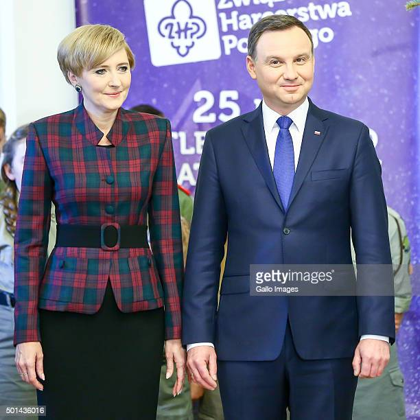 President Andrzej Duda and First Lady Agata KornhauserDuda during a ceremony to receive the Peace light of Bethlehem on December 14 2015 at the...