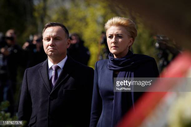 President Andrzej Duda and his wife Agata KornhauserDuda are seen attending a commemoration ceremony in Warsaw Poland on April 10 2019 Exactly nine...