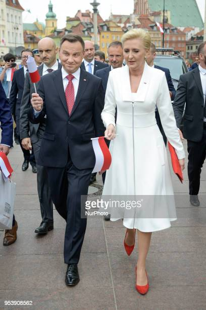 President Andrzej Duda and his wife Agata Kornhauser-Duda are seen walking in the Old Town for the celebration of Flag Day on May 2, 2018 in Warsaw,...
