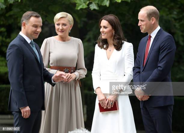 President Andrzej Duda and the First Lady Agata Kornhauser-Duda greet Catherine, Duchess of Cambridge and Prince William, Duke of Cambridge at the...
