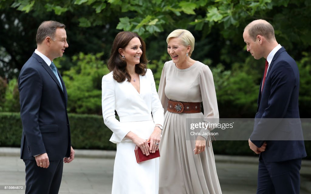 President Andrzej Duda and the First Lady Agata Kornhauser-Duda greet Catherine, Duchess of Cambridge and Prince William, Duke of Cambridge at the Presidential Palace on day 1 of their official visit to Poland on July 17, 2017 in Warsaw, Poland.
