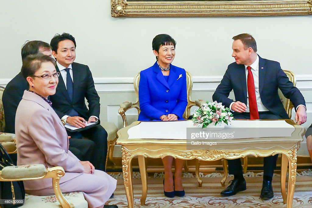 President Andrzej Duda and the First Lady Agata Kornhauser-Duda meet her Imperial Highness Princess Takamado on October 12, 2015 at the Presidential Palace in Warsaw, Poland. Her Imperial Highness Princess Takamado will also be visiting the Japanese Studies Department at Warsaw University and will take part in the Japanese Night at the Warsaw Film Festival. Her highness last visited Poland twenty one years ago with her late husband to attend the opening of, Manggha Museum.