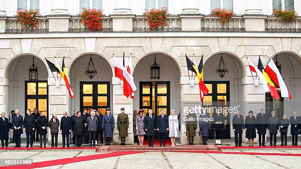 President Andrzej Duda and the First Lady Agata KornhauserDuda meet His Royal Highness Philippe King Of Belgium and Her Royal Highness Mathilde Queen...