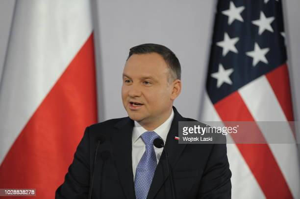 President Andrzej Duda delivers a speech during Three Seas Initiative Summit at Warsaw Royal Castle, Poland on July 6th, 2017.