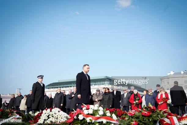 President Andrzej Duda is seen attending a ceremony at the Smolensk monument on Pilsudski Square in central Warsaw Poland on April 10 2019 Exactly...