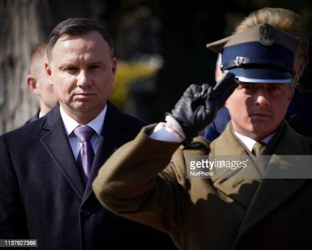 President Andrzej Duda is seen attending a commemoration ceremony at the Powazki military cemetery in Warsaw Poland on April 10 2019 Exactly nine...