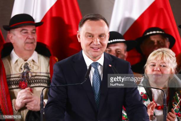 President Andrzej Duda speaks at the meeting in Rabka-Zdroj, a small town in Lesser Poland Voivodeship, during his re-election campaign. Rabka-Zdroj,...