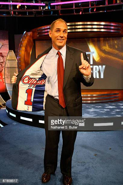 President Andy Roeser of the Los Angeles Clippers celebrates winning the 2009 NBA Draft Lottery at the Studios at NBA Entertainment May 19 2009 in...