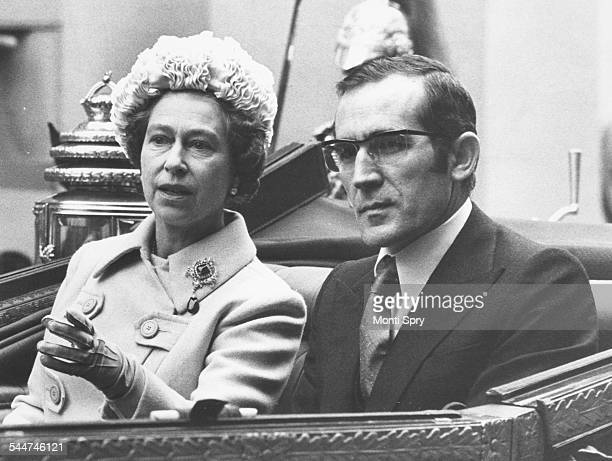 President Antonio Eanes of Portugal sitting in a carriage with HM Queen Elizabeth II arriving at Buckingham Palace London November 14th 1978