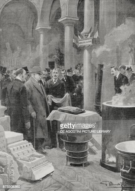President Antonio Salandra assisting in the sterilization of garments for soldiers at Palazzo Bianco Genoa Italy World War I drawing by Gennaro Amato...