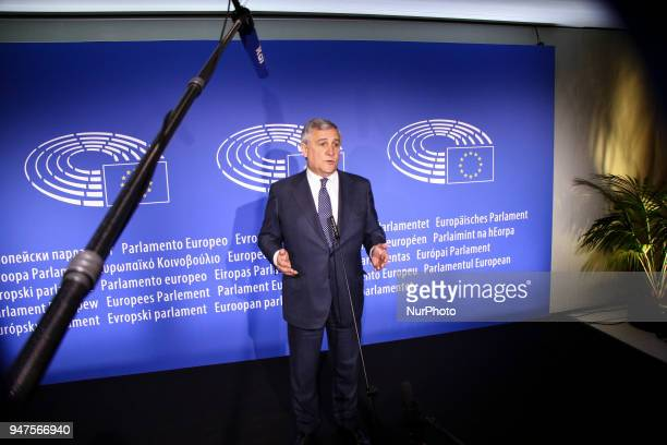 President Antonio Tajani on April 17 2018 at the EU parliament in the eastern French city of Strasbourg