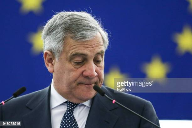 President Antonio Tajani on April 18 2018 at the EU parliament in the eastern French city of Strasbourg