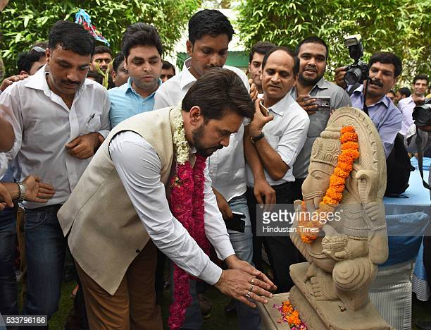 President Anurag Thakur along with the supporters paying obeisance to the idol of Lord Ganesha after he was elected as the President of BCCI on May...