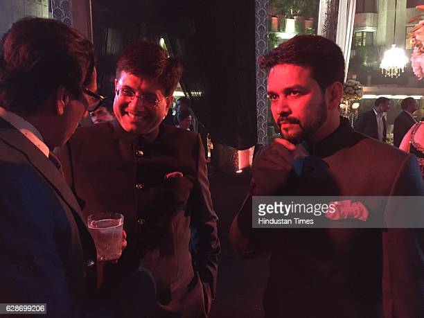 President Anurag Thakur and Union Minister Piyush Goel during the wedding reception of Indian Cricketer Yuvraj Singh and Bollywood actor Hazel Keech...