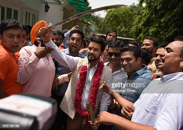President Anurag Thakur being greeted by supporters at his residence on May 23 2016 in New Delhi India