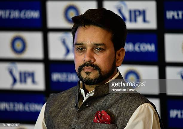 President Anurag Thakur during a press conference on September 18 2016 in New Delhi India Thakur announced new tender for the Indian Premier League's...