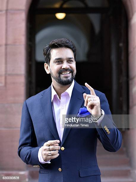 President Anurag Thakur during the Parliament Winter session at Parliament House on December 16 2016 in New Delhi India After a brief spate of...