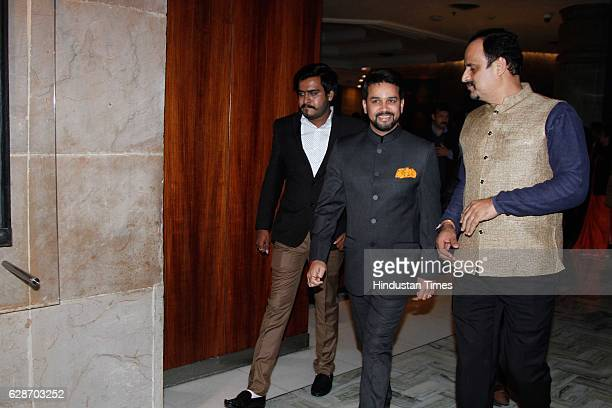 President Anurag Thakur during the wedding reception of Indian Cricketer Yuvraj Singh and Bollywood actor Hazel Keech at ITC Maurya on December 7...